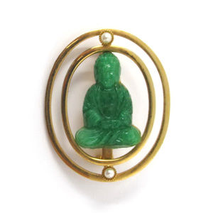 Vintage Green Carved Lucite Buddha Pin GP Brooch